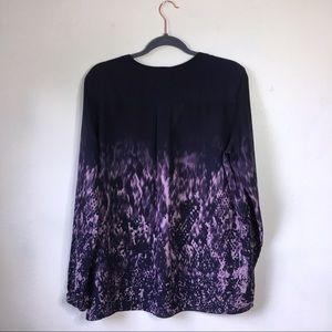 NYDJ Tops - NYDJ Purple Ombre Patterned Long Sleeve Blouse, L